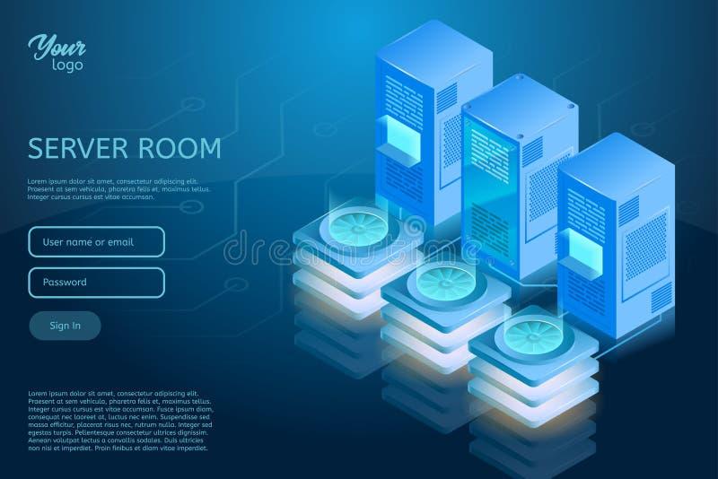 网络主持和数据中心等量传染媒介例证 向量例证