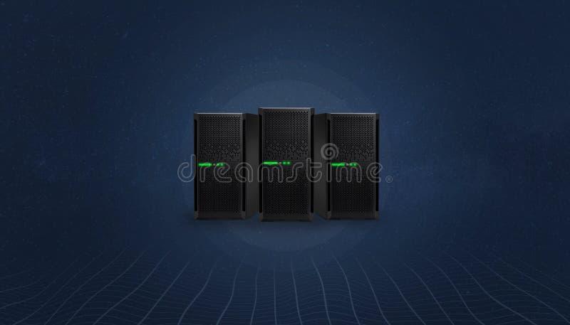 网络主持在数字,抽象背景的服务器概念 向量例证