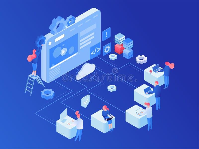 网络主持平台等量传染媒介例证 库存例证
