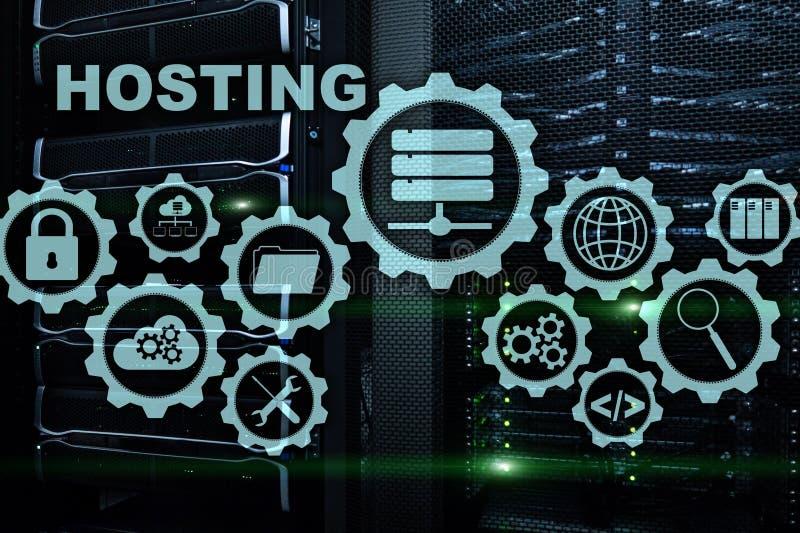 网络主持技术互联网和网络概念 在服务器室背景 Virual?? 皇族释放例证