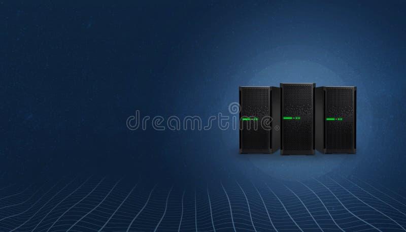 网络主持服务器 在左边的拷贝空间文本的 皇族释放例证