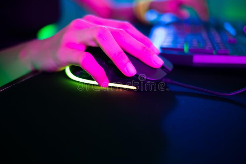 网络体育游戏玩家点击老鼠 免版税库存图片