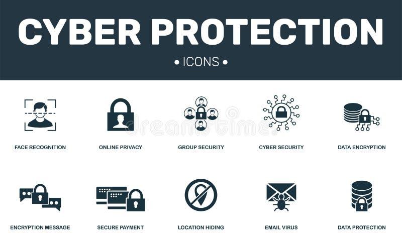 网络保护集合象汇集 包括简单的元素例如网上保密性、网络安全、面貌识别和数据 库存例证