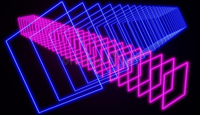 网络减速火箭的样式氖发光的抽象派、桃红色和蓝色 向量例证