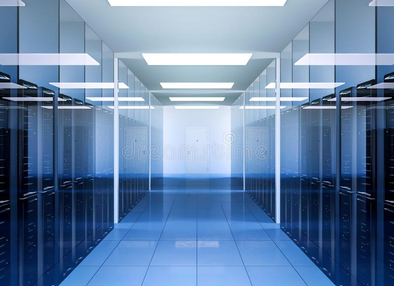 网络和互联网在数据中心服务器室内部的通讯技术 皇族释放例证