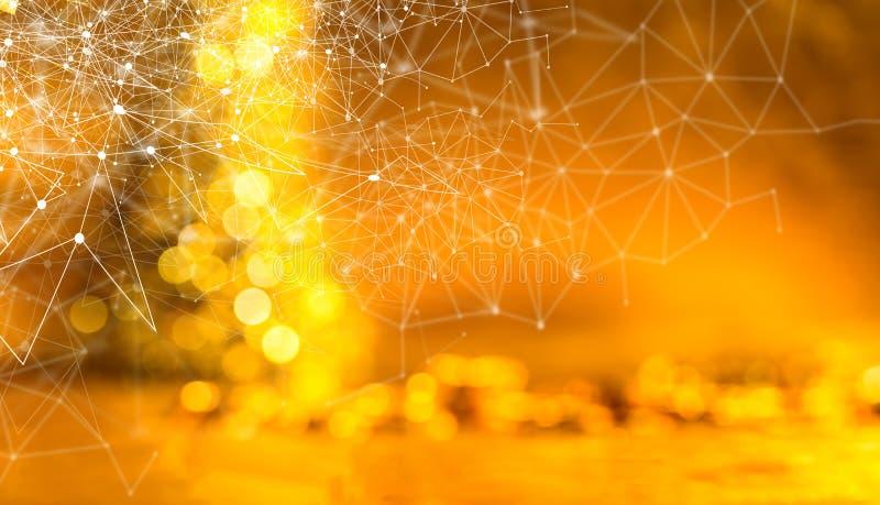 网络和连接与摘要的技术概念弄脏了金黄bokeh背景 免版税图库摄影