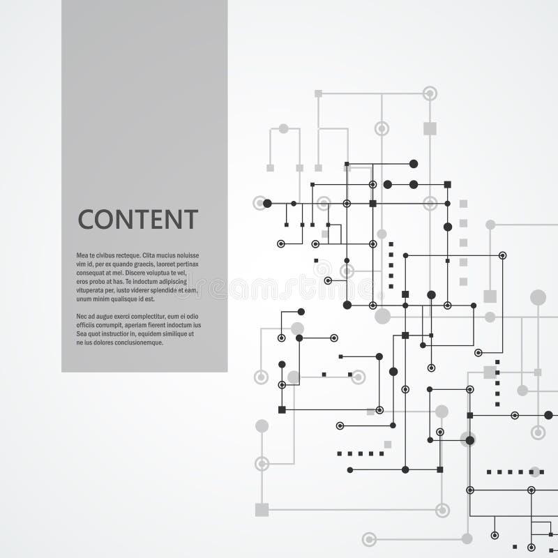 网络和连接线和小点 技术方形的通信背景 库存例证