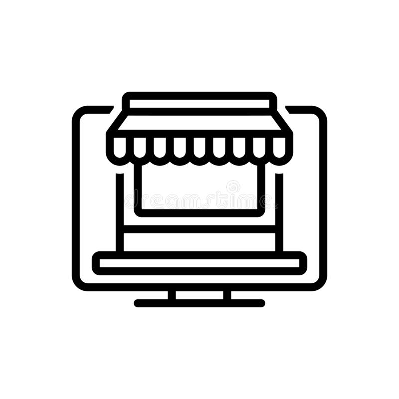 网络商店、商店和互联网的黑线象 向量例证