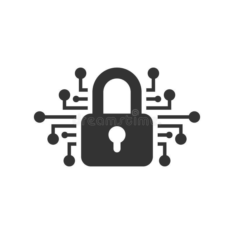 网络在平的样式的安全象 在白色被隔绝的背景的挂锁锁着的传染媒介例证 闭合的密码事务 库存例证