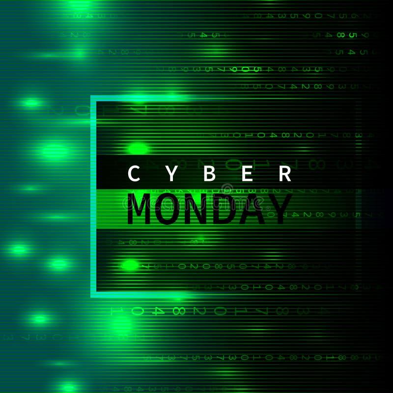 网络在样式矩阵的星期一背景 皇族释放例证