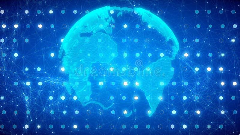 网络地球的自转 库存例证