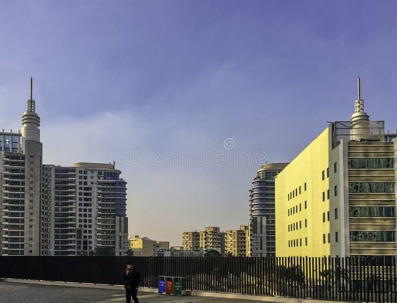 网络城市/Cyberhub建筑学在古尔冈,新德里,印度 免版税图库摄影