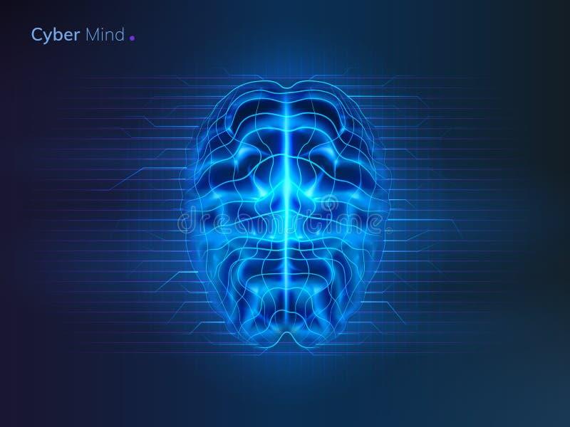 网络头脑或人工智能脑子 皇族释放例证