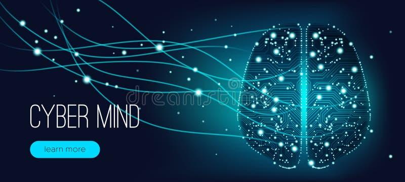 网络头脑概念,人工智能 向量例证