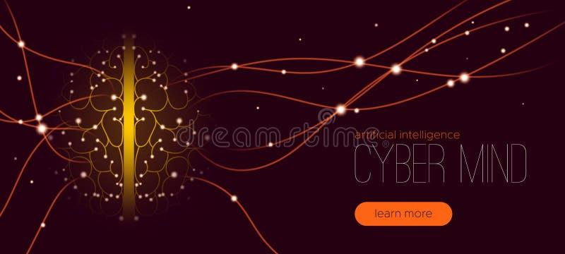 网络头脑概念,人工智能 库存例证