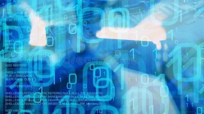 网络威胁安全,传染了互联网网站并且由特洛伊病毒打开了电子邮件 向量例证