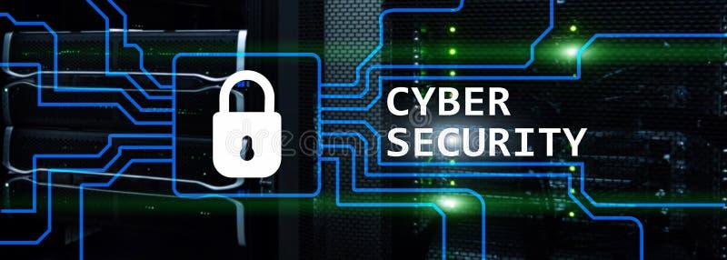 网络安全、信息保密性和数据保护概念在服务器室背景 皇族释放例证