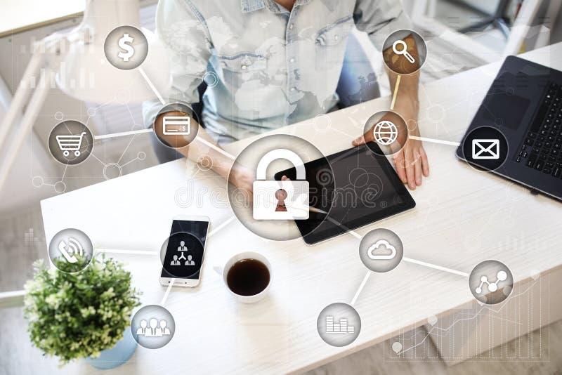 网络安全、数据保护、信息安全和加密 互联网技术和企业概念 向量例证