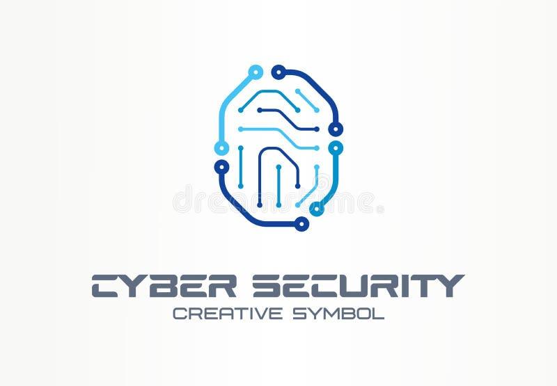 网络安全创造性的标志概念 数字锁,拇指指纹,id存取控制摘要企业商标 皇族释放例证
