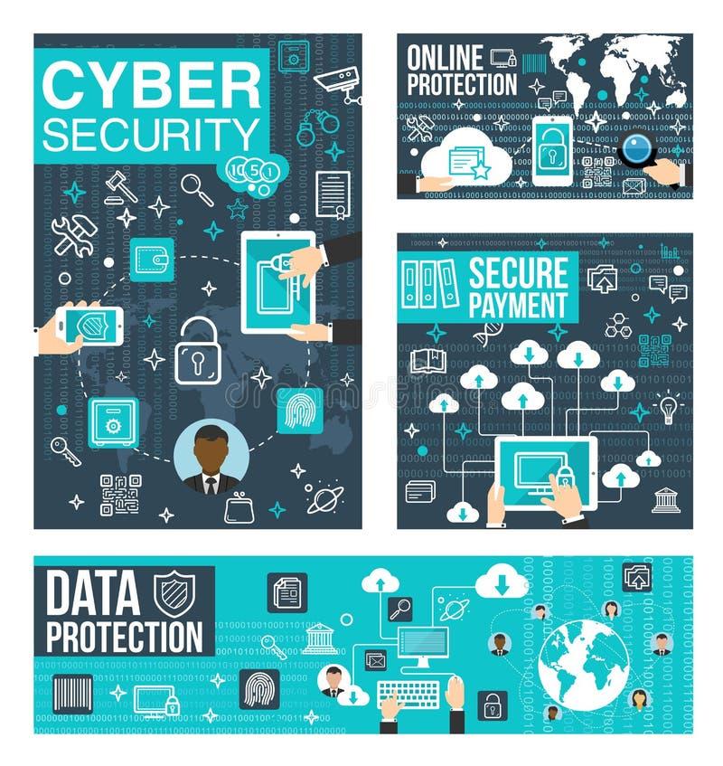 网络安全和保护线艺术信息海报 向量例证