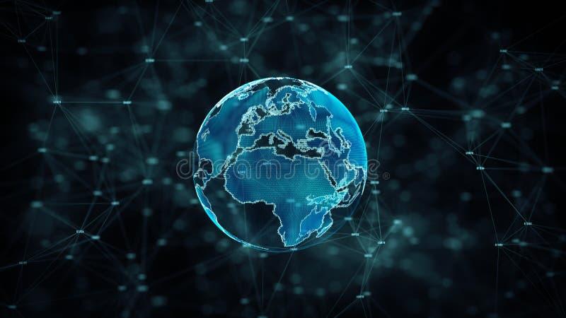 网络安全和信息网保护与锁象 事务和互联网行销的未来技术网络 皇族释放例证