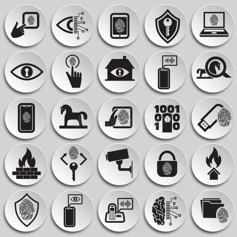 网络安全和计算机设置了图表和网络设计的,现代简单的传染媒介标志板材背景 背景蓝色颜色概念互联网 时髦 向量例证