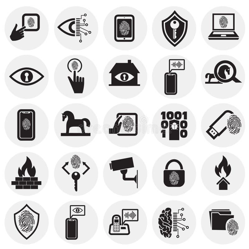 网络安全和计算机集合在圈子背景图表和网络设计的,现代简单的传染媒介标志 背景蓝色颜色概念互联网 皇族释放例证