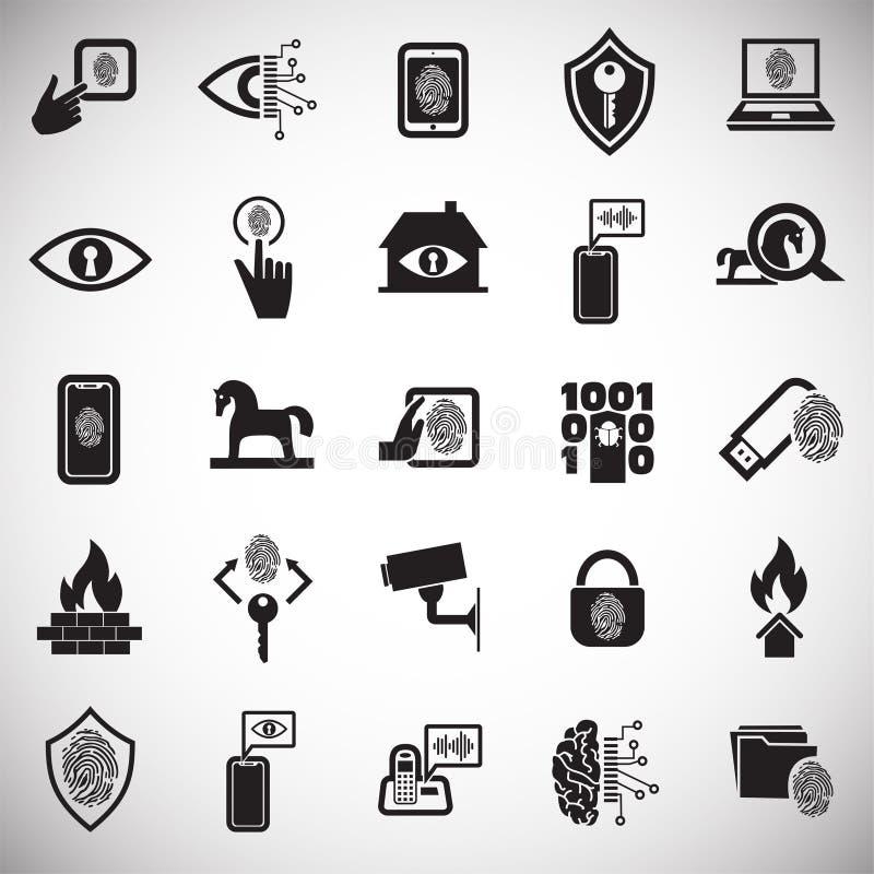网络安全和计算机集合在白色背景图表和网络设计的,现代简单的传染媒介标志 背景蓝色颜色概念互联网 库存例证