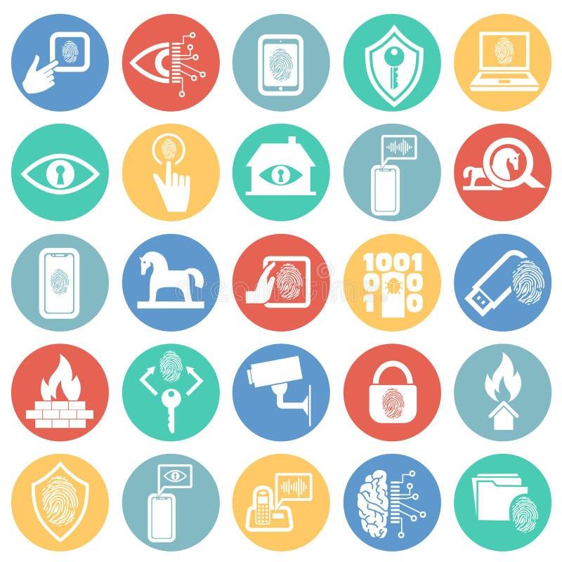 网络安全和计算机集合在色环背景图表和网络设计的,现代简单的传染媒介标志 互联网 库存例证