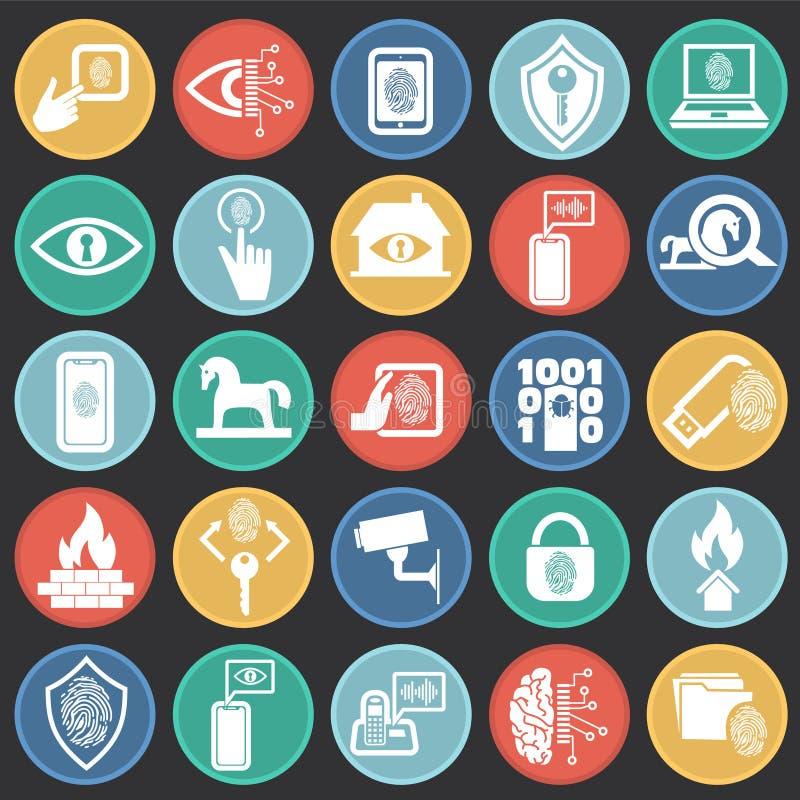 网络安全和计算机集合在色环黑背景图表和网络设计的,现代简单的传染媒介标志 互联网 皇族释放例证