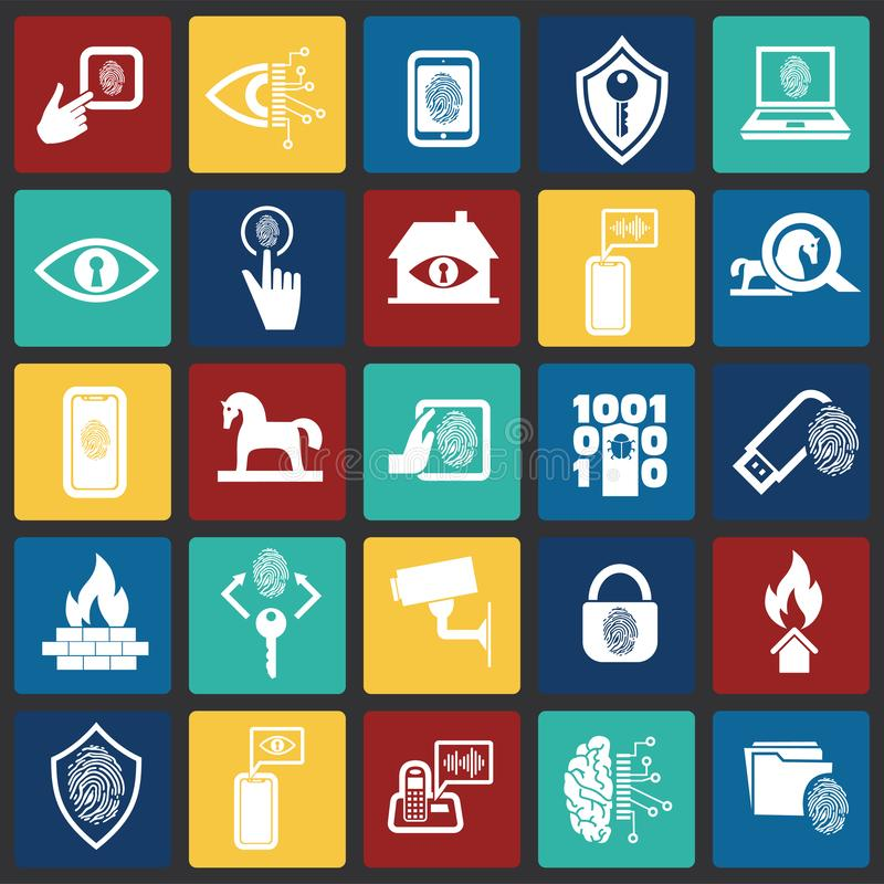 网络安全和计算机集合在颜色正方形背景图表和网络设计的,现代简单的传染媒介标志 互联网 皇族释放例证