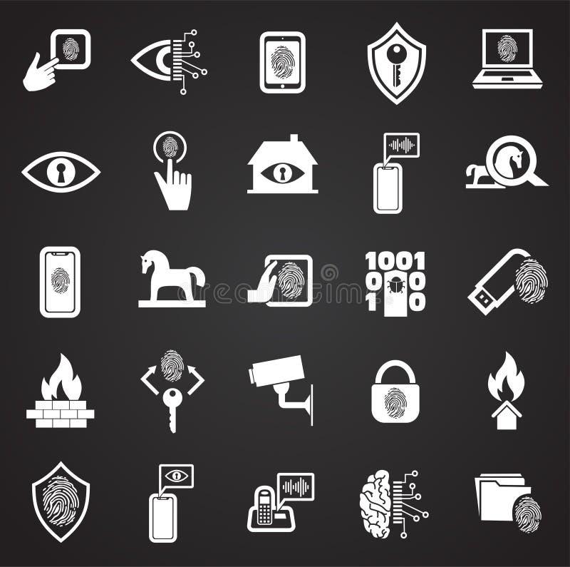 网络安全和计算机集合在黑背景图表和网络设计的,现代简单的传染媒介标志 背景蓝色颜色概念互联网 向量例证