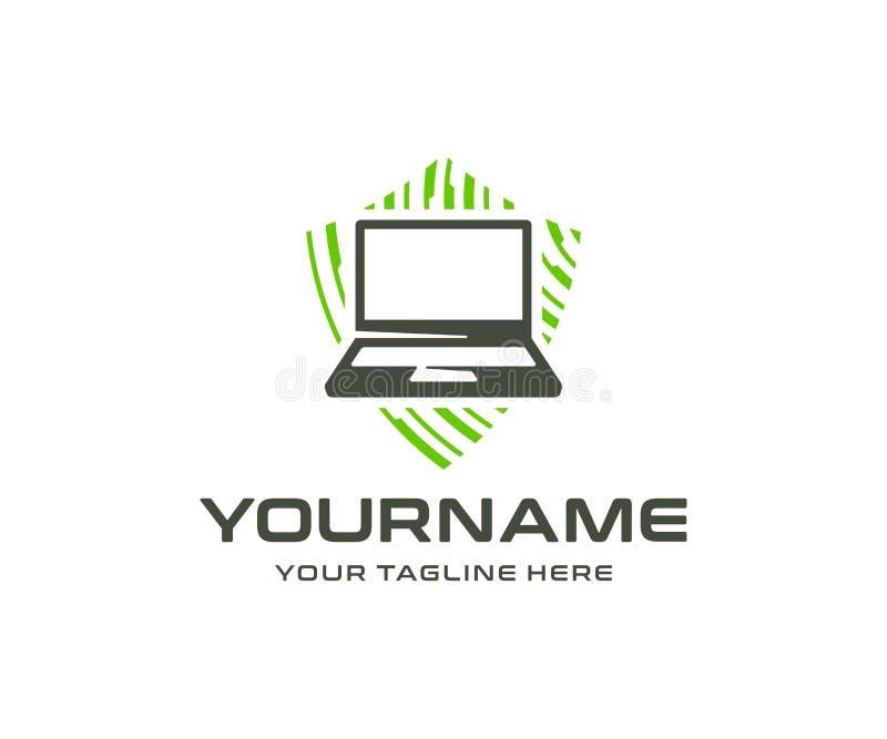网络安全商标设计 信息和网络保护传染媒介设计 库存例证