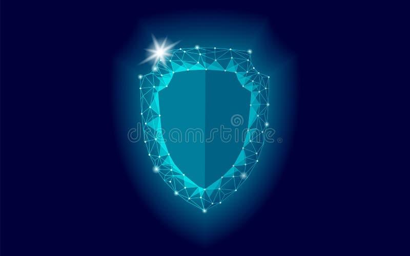 网络安全多低安全的盾 从互联网攻击抗病毒的多角形几何发光的卫兵救球 蓝色 皇族释放例证
