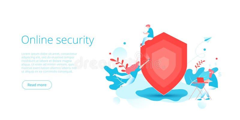 网络安全或个人资料数据保密在创造性的平的传染媒介例证 网上计算机或流动安全系统 ? 库存例证