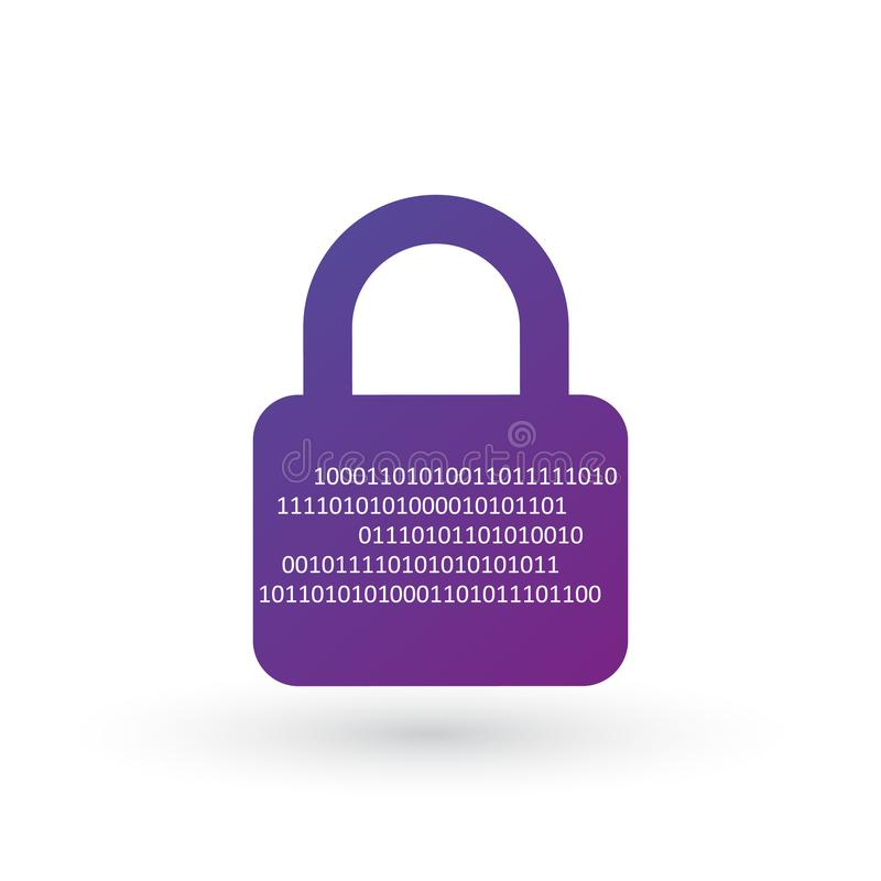 网络安全概念,有二进制数字代码的闭合的挂锁 背景钝齿轮例证查出的白色 库存例证