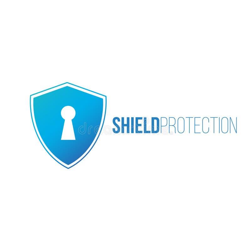 网络安全概念:有匙孔象的盾在数字资料 盾保护商标 网络数据保密或信息 向量例证