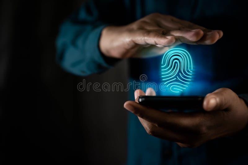 网络安全系统概念、指纹内防护 用户身份或个人信息的保护 免版税库存照片