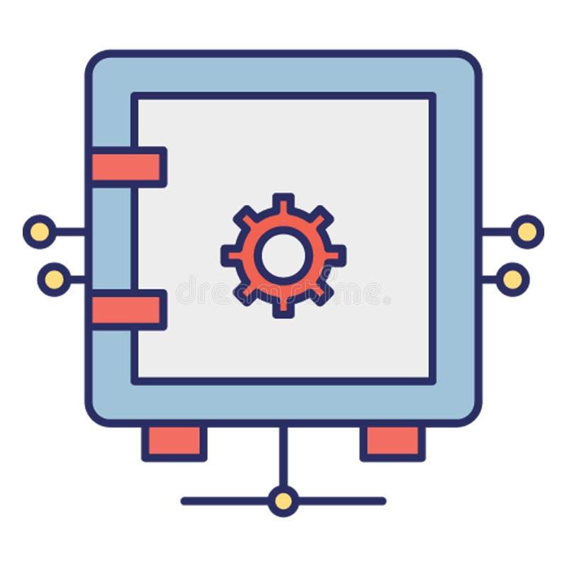 网络安全衣物柜,可能容易地修改或编辑的网络安全穹顶传染媒介象 库存例证