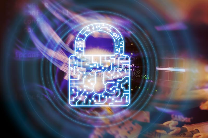网络安全锁象信息保密性数据保护互联网和技术概念 向量例证
