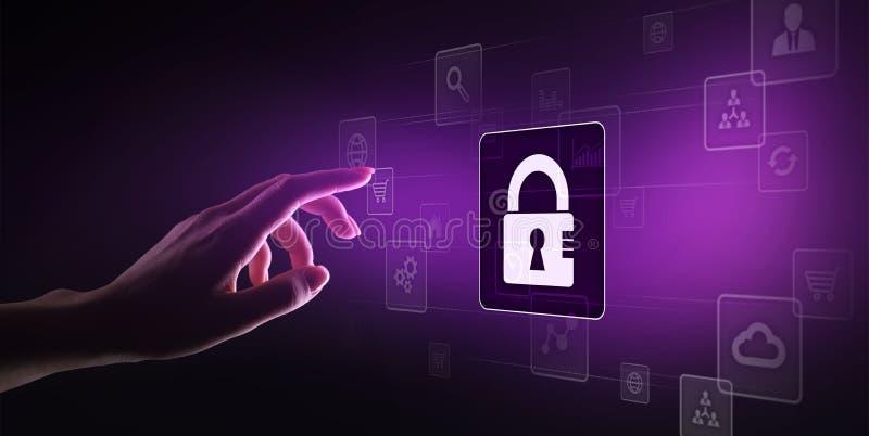 网络安全,个人资料保护,信息保密性 在虚屏上的挂锁象 背景蓝色颜色概念互联网 向量例证