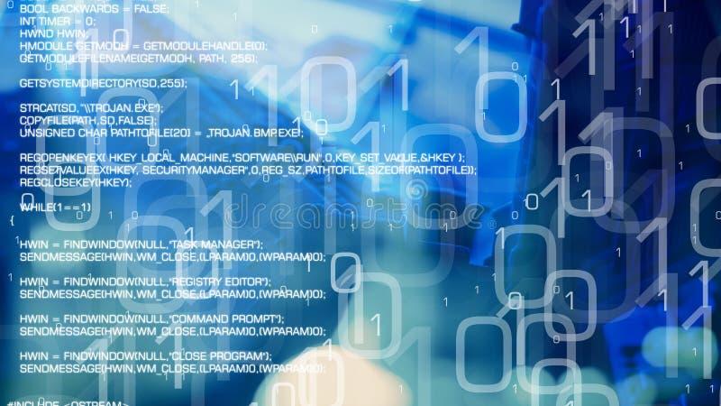 网络安全,使用二进制马胃蝇蛆的银行cyberattack 皇族释放例证