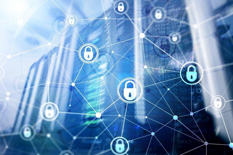 网络安全,信息保密性,在现代服务器室背景的数据保护概念 互联网和图片