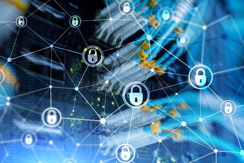 网络安全,信息保密性,在现代服务器室背景的数据保护概念 互联网和数字技术 库存例证