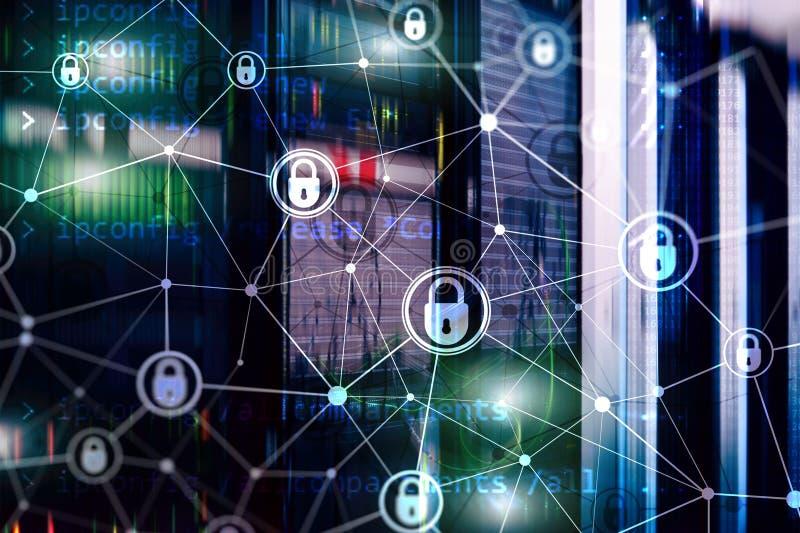 网络安全,信息保密性,在现代服务器室背景的数据保护概念 互联网和数字 免版税库存照片