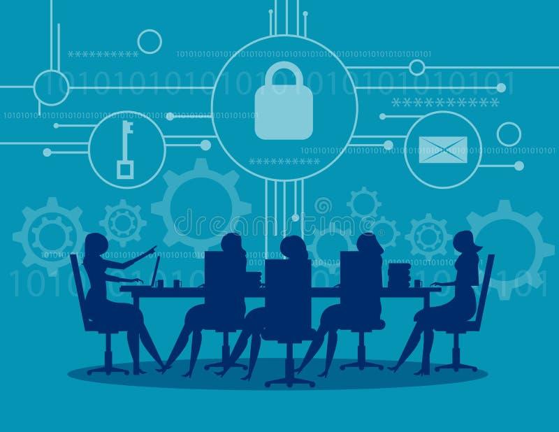 网络安全 业务会议安全 概念事务 向量例证
