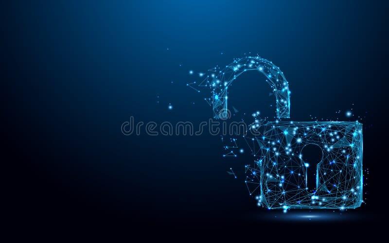 网络打开安全概念 锁标志形式线和三角,在蓝色背景的点连接的网络 皇族释放例证