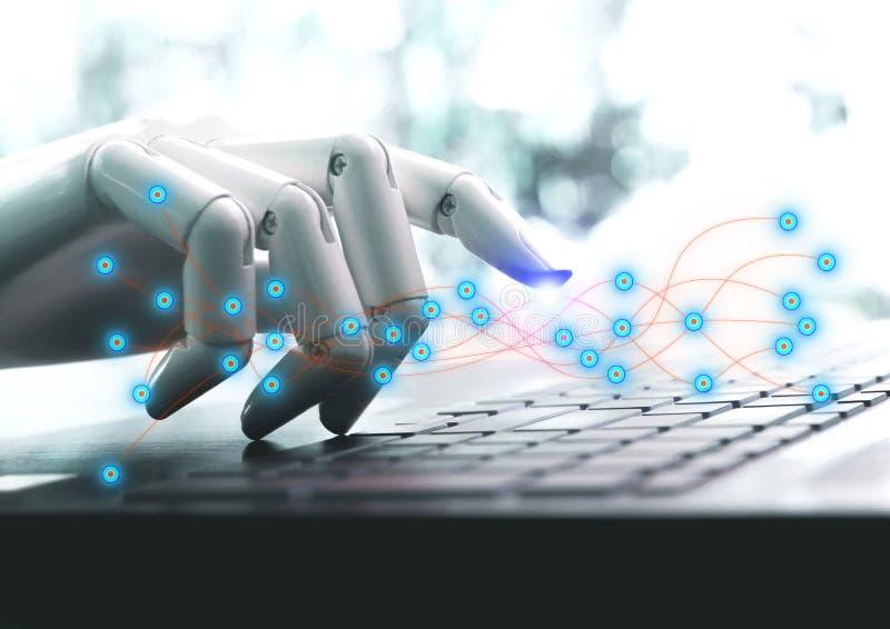 网络技术机器人按键盘的概念或机器人手chatbot 库存图片