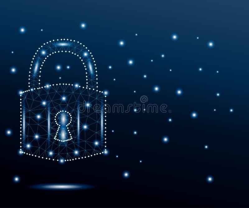 网络挂锁,多角形,蓝色,担任主角3 皇族释放例证