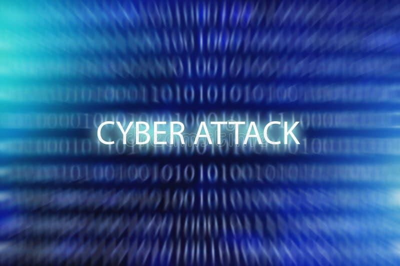 网络攻击-在蓝色的词弄脏了二进制编码背景,互联网安全和乱砍在网际空间 免版税图库摄影